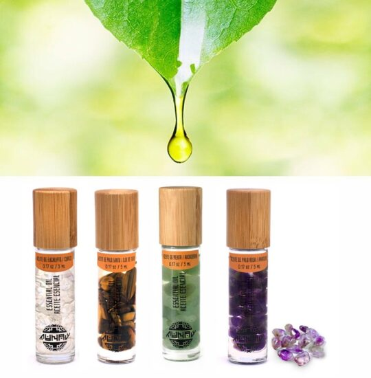 Gemmotherapy kit of essential oils and Energy Stones (4 mini-bottle)
